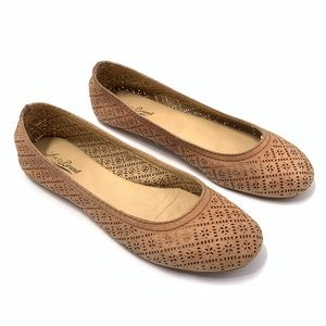 Lucky Brand, LK (9.5) Perforated Leather Tan Flats